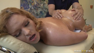 Busty Krissy Lynn gets an oiled massage by her boyfriend's brother image