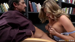 Busty schoolgirl Samantha Saint plays with the cock image
