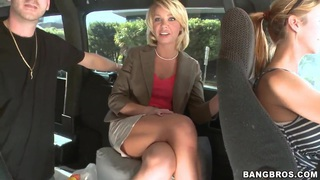 Hot milf Harley Summers poses in a real Bang Bus image