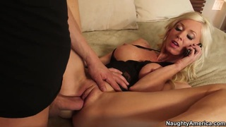 Image: Appetite blonde milf was having a phone_sex when her son's best friend came