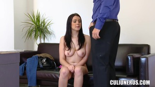 Image: Teen porn curve Claudia Bomb demonstrates her oral skills for camera