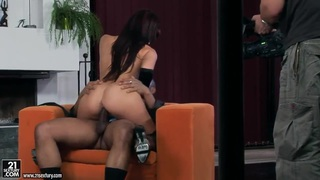Hot Aletta Ocean in lingerie rides on black cock image