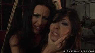Image: Lesbian BDSM scene with hot brunettes named Mandy_Bright and Oliva