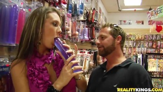 Passionate sex with shop assistant in the sex shop image