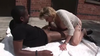 TROPHY WIFE AND BLACK TOSSER WITH ERECTION PROBLEMS image