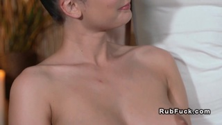 Busty Euro brunette gets_lesbian massage image