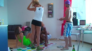 Ally & Margo & Ivana Sugar & Milia in college orgy with a lot of hardcore fucking image