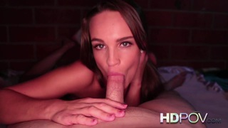 Image: HD POV Brunette College rubs Cock against Tight Pussy