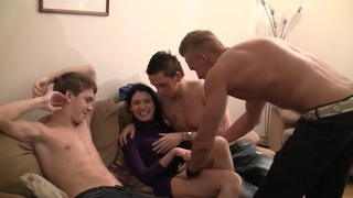 Elizabeth & Kamila & Marya & Sabina Gruda & Tanata in sexy chick gets fucked in a real college sex video image