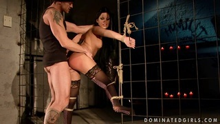 Dark haired girl gets bound and butt fucked by a_violating cock image