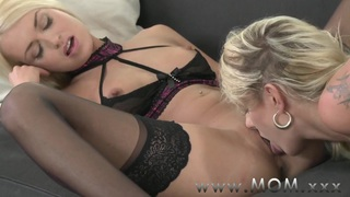 MOM Lesbian MILFs Kissing and Eating Pussy image