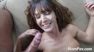 Busty Latina MILF homemade handjob blowjob facial image