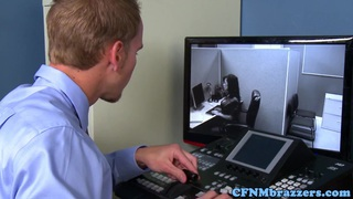 Busty office cfnm babes cockriding in trio image