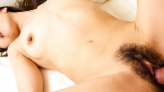 Sultry Ruri Hayami in_bed bent over a hard dick gobbling away like mad. image