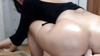 Image: Big ass milf nice riding dildo on table