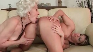 Image: Very old granny loves chubby young girl