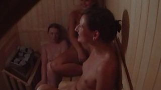 Hidden Cam Catches 3 Girls in Sauna image