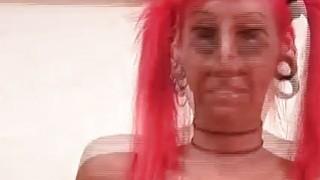 Image: Pierced kinky redhead finger fucks skinny pussy
