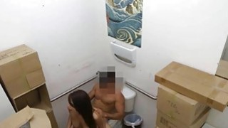 Lusty latin chick sells her TV and banged at the pawnshop image