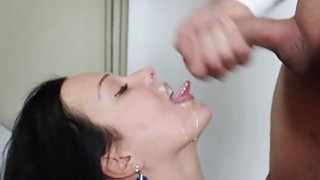 Image: Messy facial fun for Natali Blue after sex session