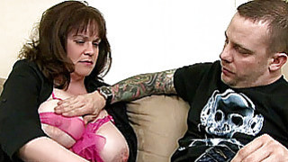 Image: Busty amateur Milf sucks and fucks a young dick