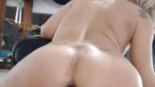 Awesome blonde anal black dildo riding on webcam image