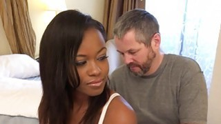 Ebony Wife Has Cuckold Lick Another Mans Cum image