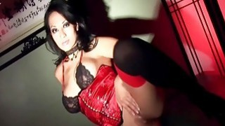 Busty asian masturbates wearing sexy lingerie image