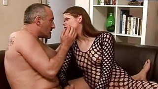 Teen in fishnet gets fucked rough by old man image