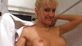 Busty amateur girlfriend sucks and fucks in the ba image