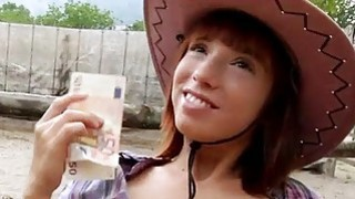 Image: Pretty amateur cowgirl Tina Hot fucked outside