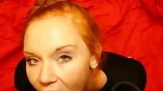 Amateur Redhead Eats his_Cum image