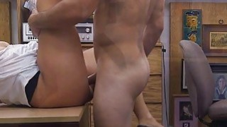 Big ass hottie pawns her twat and_railed in the backroom image