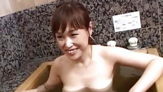 Pale Japanese wife secret AV bathing soapy handjob image