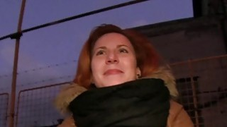Czech redhead banging in the car in public image