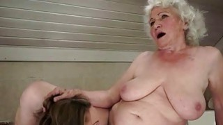 Girl loves hairy fat busty granny in the bathroom image