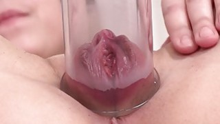 Chick with small tits plays with_a pump image