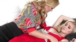 Busty MILF Cherie Deville and teen girl Naomi Woods lesbosex image