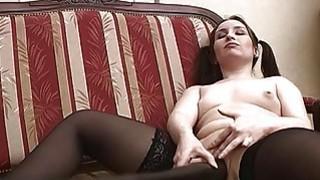 Pigtailed Horny Teen Masturabating Pussy Insertion image