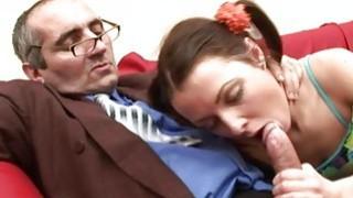Image: Older teacher is taking advantage of virginal gal