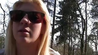Image: European blonde bangs in woods in public