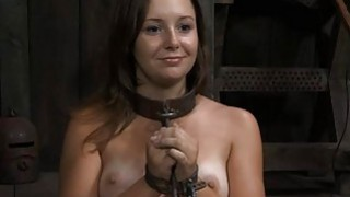 Image: Gagged girl with clamped nipps gets wild joy