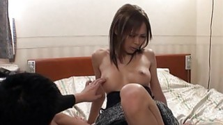 Cute japanese babe in nylons thrills with blow job image