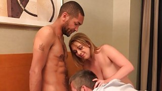 Hot Blonde Wife and Husband Share a Tasty Black Co image