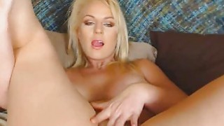 Blonde Babe With Huge Tits Rubs her Clit to Orgasm image