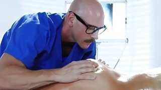 Audrey gets special oily massage sex horny orderly Johnny image