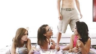 Three tight BFFs movie marathon turns to horny group sex image