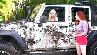 Redhead mom lesbian sex with teen blonde in the car wash image