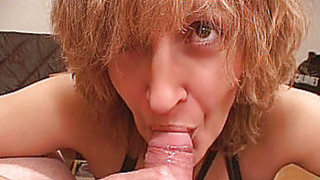 Amateur Mom gives blowjob with cumshot in mouth image