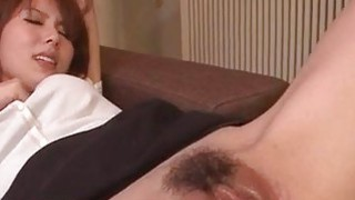 Yui Hatano gets two cocks to smash her tight holes image